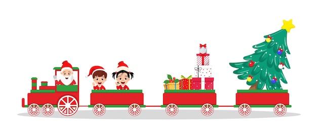 Leuke mooie kerstman en kinderen