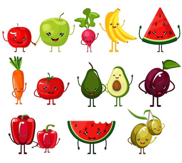 Leuke, mooie, smaakvolle, smakelijke stijlvolle set van sappige groenten en fruit met lachende gezichten, zwaaiend daar handen. nuttig en dieetvoeding.