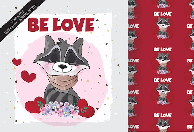 Leuke mooie wasbeer met bloemen en liefdeillustratie illustratie van background