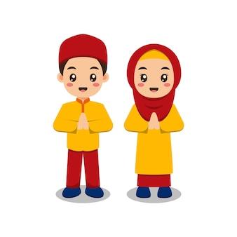 Leuke moslim kinderen paar bedrijf Premium Vector