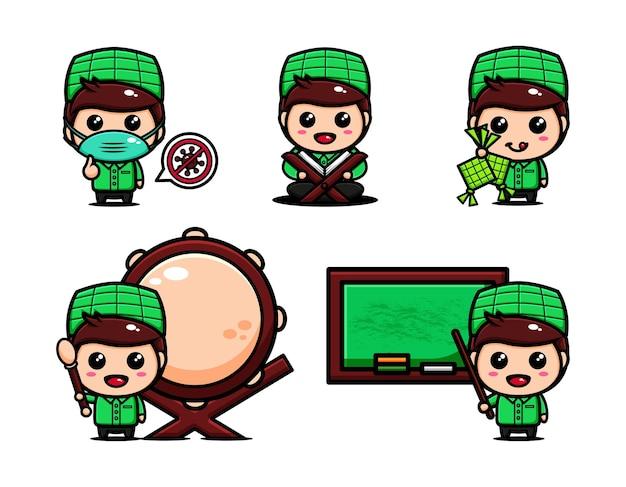 Leuke moslimjongen met veel expressie. islamitische karakter cartoon