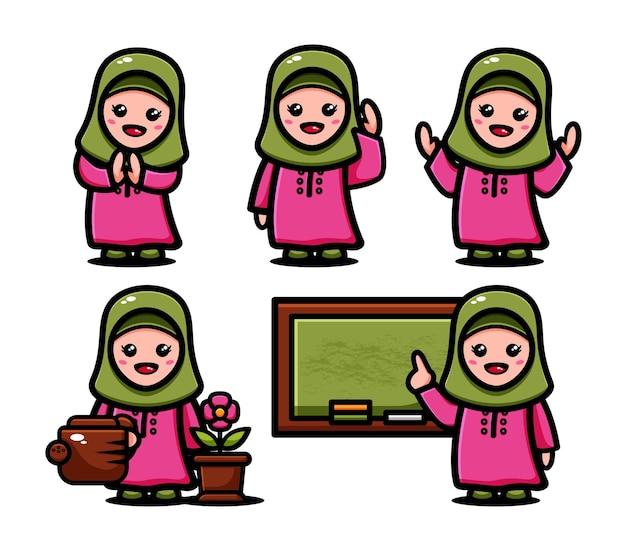 Leuke moslimmeisjes met veel poses