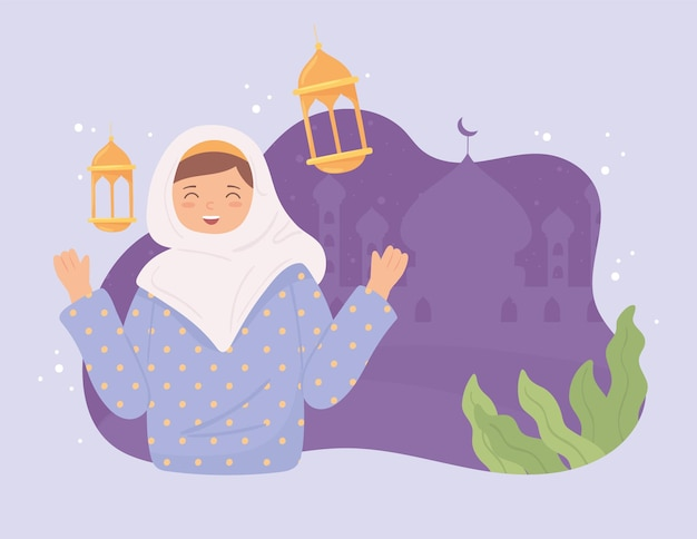 Leuke moslimvrouw en moskee