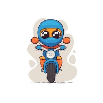 Leuke motorrijder in een helm op een motorfiets