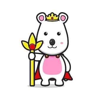 Leuke muis als een koning cartoon vector pictogram illustratie. ontwerp geïsoleerde platte cartoonstijl.