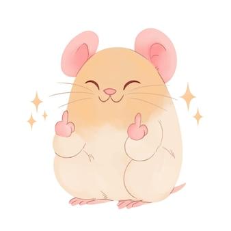 Leuke muis die het fuck you-symbool toont