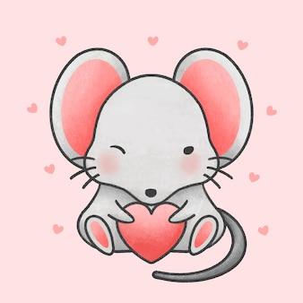 Leuke muis houden hart cartoon hand getrokken stijl