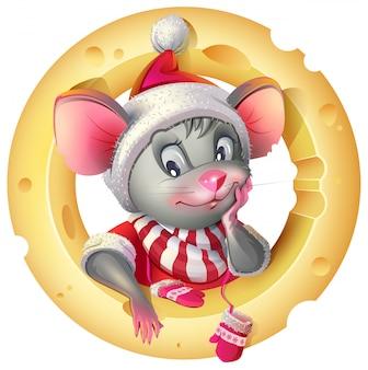 Leuke muis in santa kostuum poseren kaas. rat muis symbool van 2020