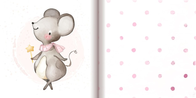 Leuke muis met toverstaf naast roze stippenpatroon achtergrondafdruk