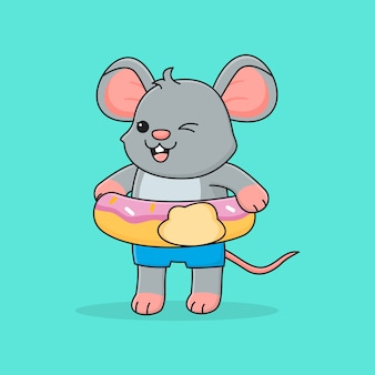 Leuke muis met zwemring donut
