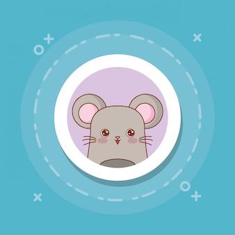 Leuke muis op blauw