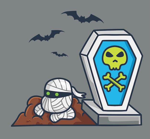 Leuke mummie uit graf cartoon halloween evenement concept geïsoleerde illustratie flat style