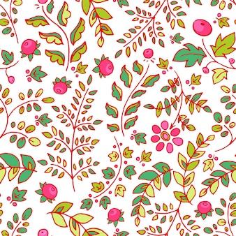 Leuke naadloze achtergrond met bloemen, bladeren en bessen