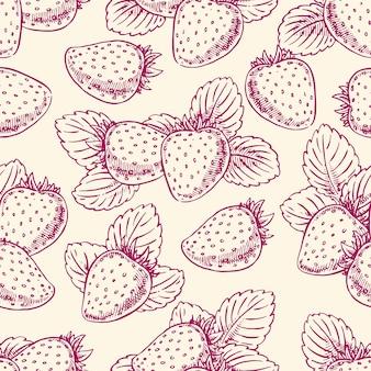 Leuke naadloze achtergrond met rijpe aardbeien en bladeren. handgetekende illustratie