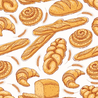 Leuke naadloze achtergrond met verschillende heerlijke gebakjes