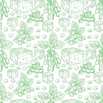 Leuke naadloze achtergrond van sojabonen en tofu. handgetekende illustratie