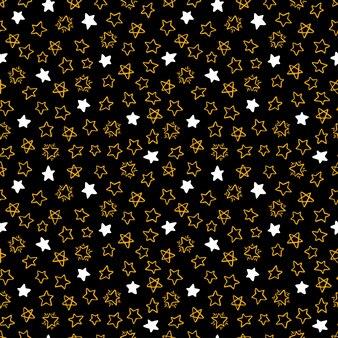 Leuke naadloze achtergrond van verschillende handgetekende sterren