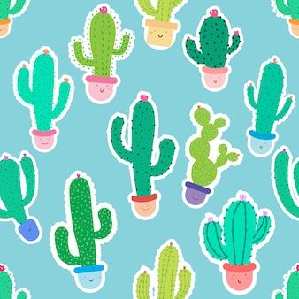 Leuke naadloze cactus patroon achtergrond