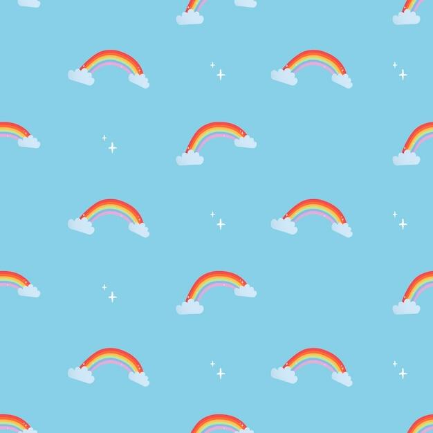 Leuke naadloze kinderpatroonachtergrond, regenboog vectorillustratie