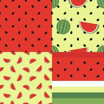 Leuke naadloze patroon collectie met watermeloenen. vector eindeloze achtergrond collectie. goed voor behang, uitnodigingskaarten, textielafdrukken. vector trendy illustraties.