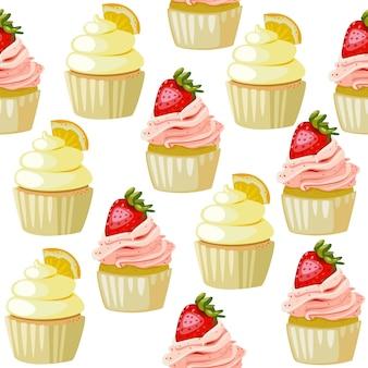 Leuke naadloze patroon cupcake