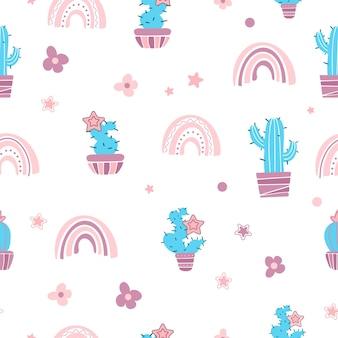 Leuke naadloze patroon huisplanten cactussen bloemen regenbogen in cartoon-stijl