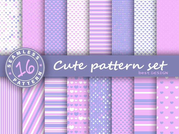 Leuke naadloze patroonreeks. roze, violette kleuren. polka dot, strepen, hartenpatroon.