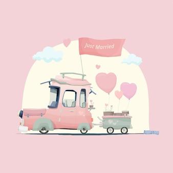 Leuke net getrouwde auto met liefdesplant
