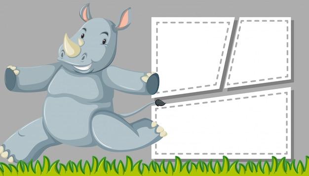 Leuke neushoornscène met frames copyspace