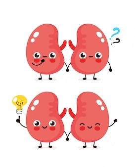 Leuke nieren met vraagteken en gloeilamp karakter. platte cartoon karakter illustratie pictogram. geïsoleerd op wit. nieren hebben een idee