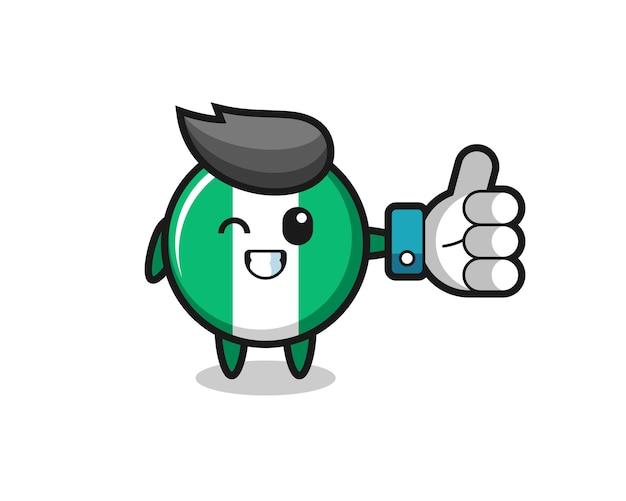 Leuke nigeria vlag badge met social media thumbs up symbool, schattig stijlontwerp voor t-shirt, sticker, logo-element