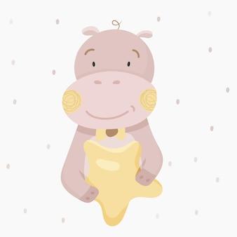 Leuke nijlpaard die een ster houdt.