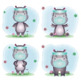 Leuke nijlpaard die gezichtsscherm en maskercollectie gebruikt