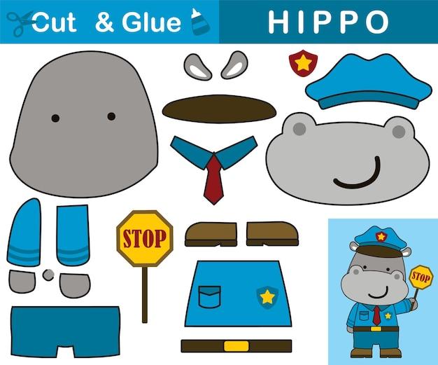 Leuke nijlpaard die verkeersagent uniform draagt. educatief papieren spel voor kinderen. uitknippen en lijmen. cartoon illustratie