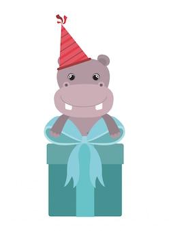 Leuke nijlpaard met geschenkdoos