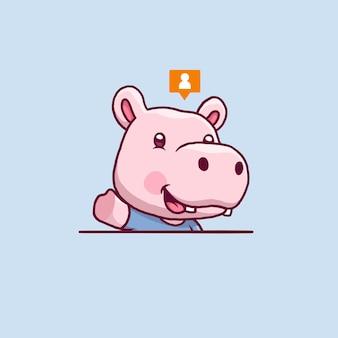 Leuke nijlpaard zwaaiende hand cartoon