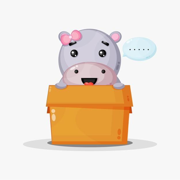 Leuke nijlpaardmascotte in de doos