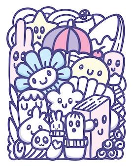 Leuke objecten hand getrokken doodle kunst