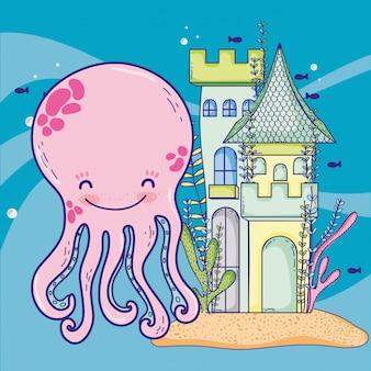 Leuke octopus met kasteel- en zeewierplanten