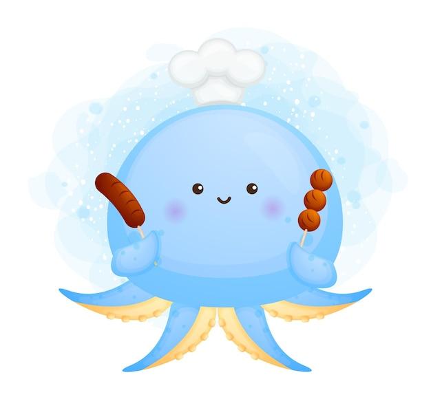 Leuke octopuschef-kok die een grillworst en een grillgehaktbal houdt. stripfiguur en mascotte illustratie.