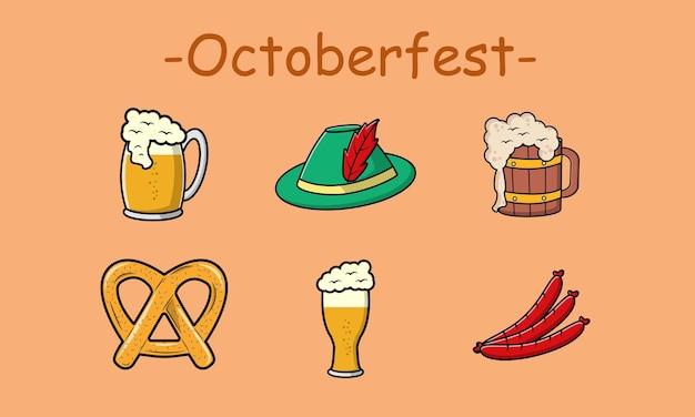 Leuke oktober fest set-collectie. vector cartoon afbeelding ontwerp. geïsoleerd op bruine achtergrond.