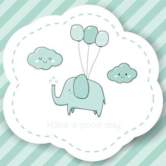 Leuke olifant baby douche cartoon doodle merk logo sjabloon