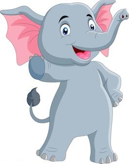 Leuke olifant cartoon wuivende hand