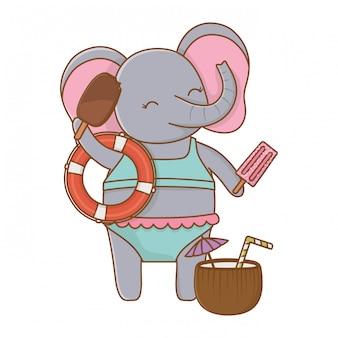Leuke olifant die de zomer van vakanties geniet