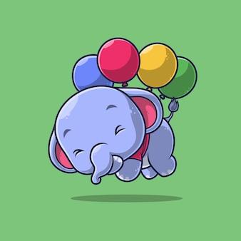 Leuke olifant die met ballon drijft die op groen wordt geïsoleerd