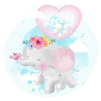 Leuke olifant die met liefdeballon vliegt