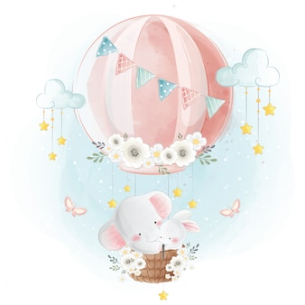 Leuke olifant en konijntje die naar de hemel vliegen