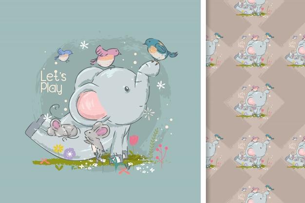 Leuke olifant en vogelsbeeldverhaal en naadloos patroon