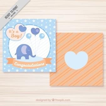 Leuke olifant met ballonnen kaart