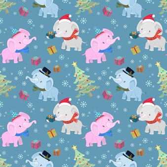 Leuke olifant met cadeau en kerstboom naadloos patroon.